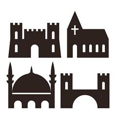 Castle church mosque and bridge icons vector