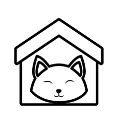 Cat fluffy animal clossed eyes house pet outline vector