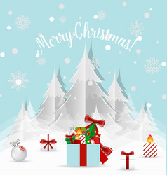 Christmas Greeting Card with Christmas tree and vector image