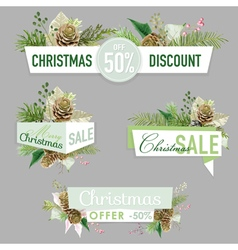 Christmas Sale Banners Labels and Tags vector image