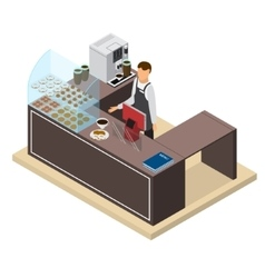 Coffee Shop or Bar Counter and Barista Isometric vector