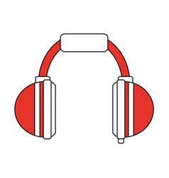 Color silhouette image cartoon orange headphones vector
