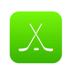 crossed hockey sticks and puck icon digital green vector image