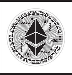 crypto currency ethereum black and white symbol vector image vector image