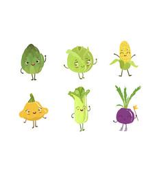 cute happy vegetable characters set artichoke vector image