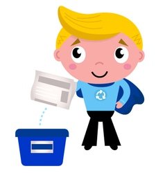 Cute recycle superhero boy separating garbage vector image