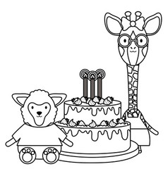 cute sheep and giraffe with cake in birthday party vector image