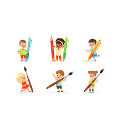 cute young children holding big pencils and pens vector image