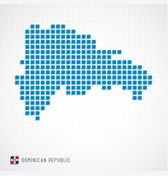 Dominican republic map and flag icon vector