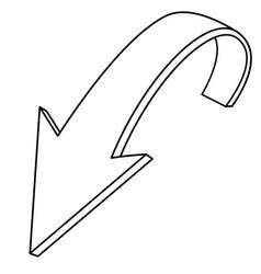 Down arrow outline icon vector