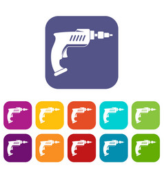 Drill icons set flat vector