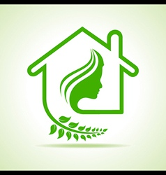Eco home icon with women face stock vector image