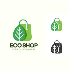 eco shop logo consisting shopping bag vector image