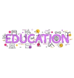 Education Concept with icons and elements vector