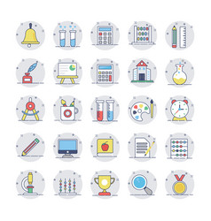 Education flat line icons 1 vector