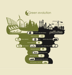 Environment and air pollution and land infographic vector