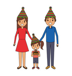 family parents and child holding birthday cake vector image