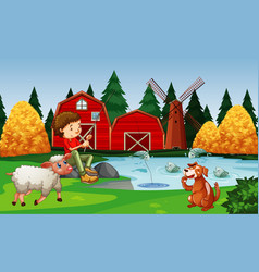farm with red barn and windmill scene vector image