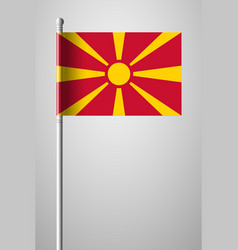 Flag of macedonia national flag on flagpole vector
