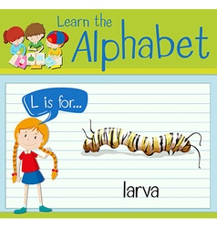 Flashcard letter l is for larva vector