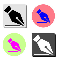 fountain pen nib flat icon vector image