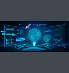 futuristic earth globe hologram and hud interface vector image