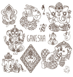 ganesh in the mehendi style vector image