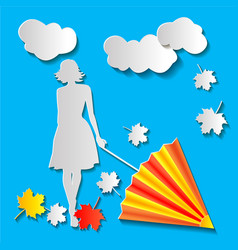 girl with an umbrella and autumn leaves paper cut vector image