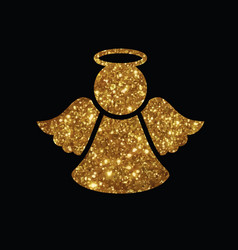 Golden glitter christmas angel line icon vector