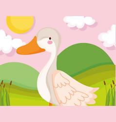 goose bird grass sun clouds farm animal cartoon vector image