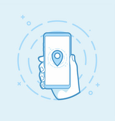 hand holding smartphone with map pin icon vector image