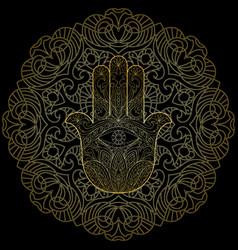 hand of fatima with mandala vector image