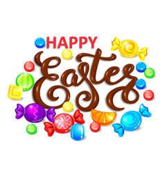 happy easter chocolate word lettering with vector image