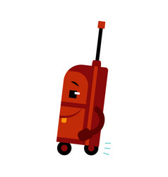 happy suitcase cartoon character with smile on vector image