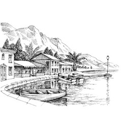 Harbor drawing small buildings and boats on shore vector