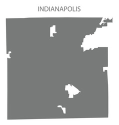 indianapolis indiana city map grey silhouette vector image
