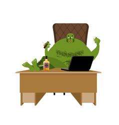 Internet troll big green goblin sits at laptop vector