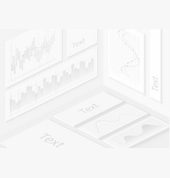 isometric realistic white wall infographics vector image