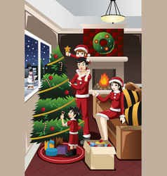 kids helping parents decorating christmas tree vector image