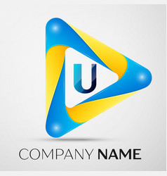 Letter u symbol in the colorful triangle vector