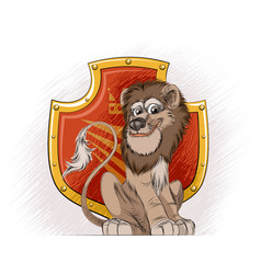 lion and a heraldic shield vector image