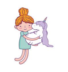 little girl with unicorn kawaii character vector image