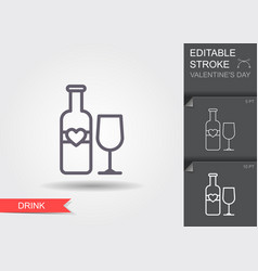 lovely wine line icon with editable stroke vector image