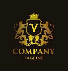 Luxury letter v logo vector