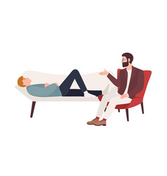 man lying on coach and male psychologist vector image