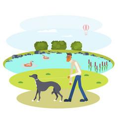 Man walking with dog vector