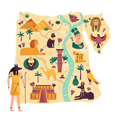 map egypt with ancient landmarks symbols vector image
