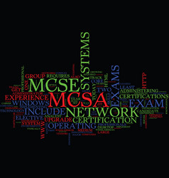 Mcse v s mcsa text background word cloud concept vector
