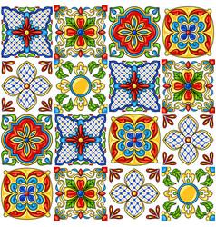Mexican talavera ceramic tile pattern vector