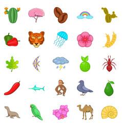 milieu icons set cartoon style vector image